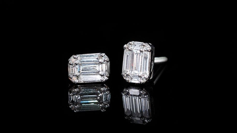 18ct White Gold Baguette Cut Diamond Stud Earrings 0.41ct