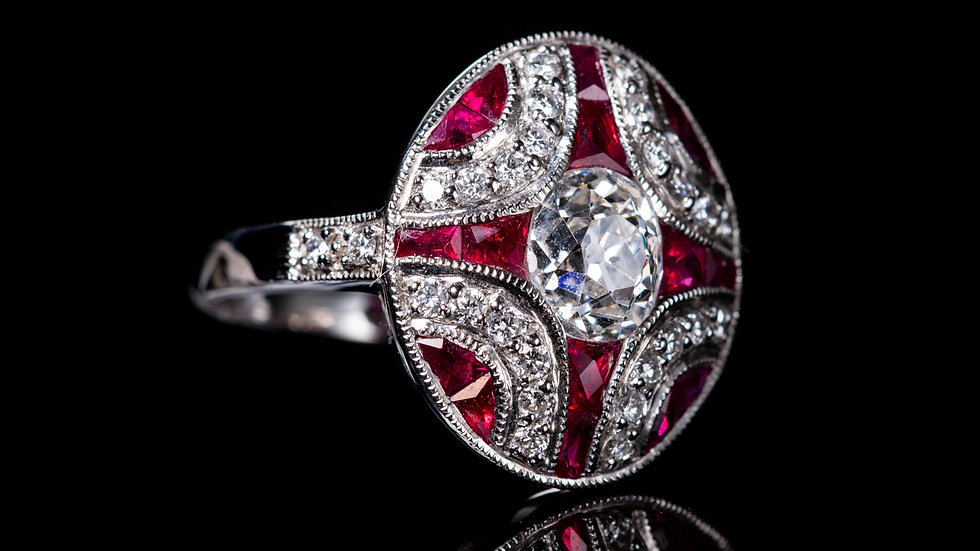 2.5ct Ruby and 1.3ct Centre Diamond  (TCW 2ct Dia) Ring, 18ct White Gold