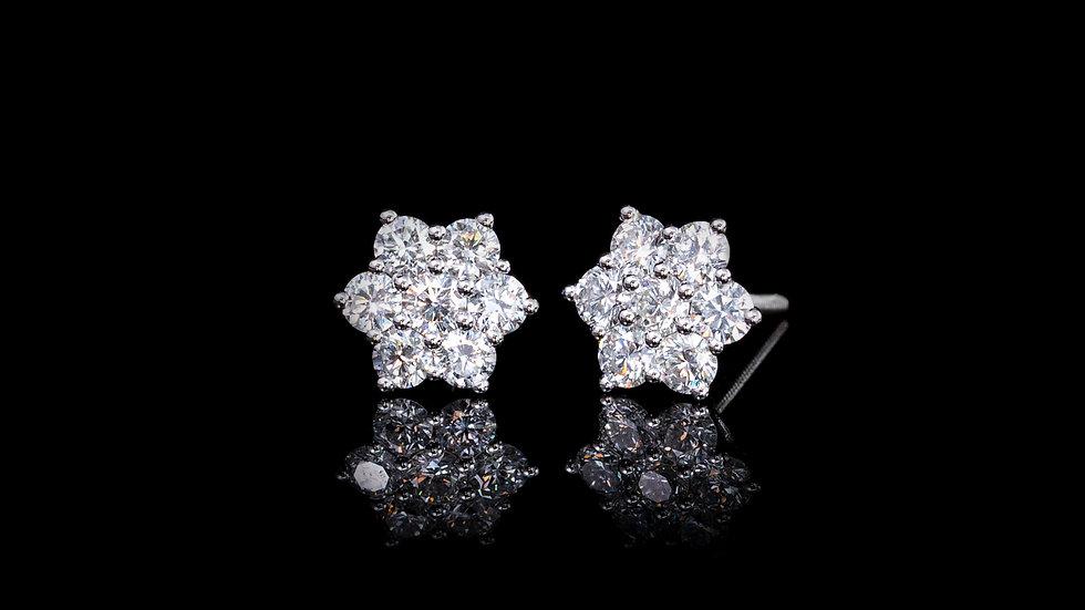 18ct White Gold 1.01ct Diamond Flower Cluster Stud Earrings