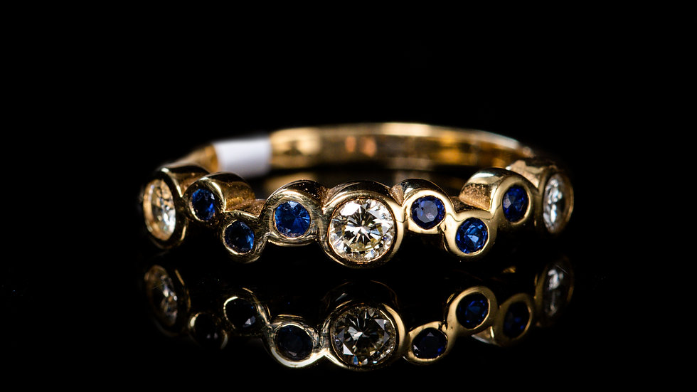 18ct Yellow Gold Bubbles Diamond and Blue Sapphire Half-Eternity Ring