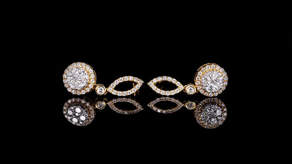 18ct Yellow Gold Diamond Drop Earrings  0.56ct