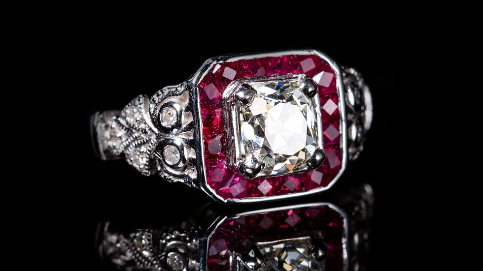 2ct Ruby and 1.2ct Diamond 18ct White Gold Ring