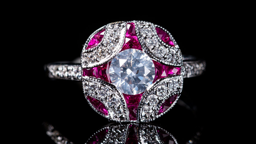 0.6ct Ruby and 0.6ct Centre Diamond (1ct Diamond total) 18ct White Gold Ring