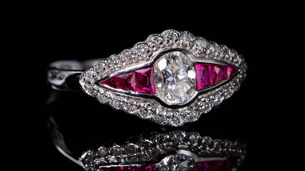 Ruby and 0.4ct Diamond (0.6ct total carat weight ) Ring 18ct White Gold