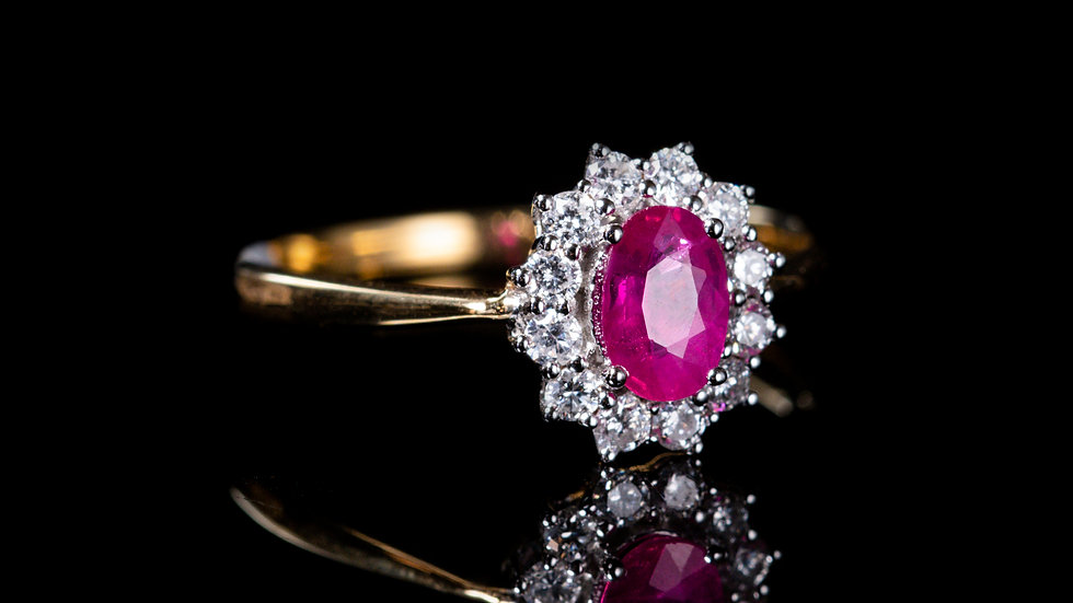 18ct Yellow Gold Ruby (0.49ct) and Diamond (0.26ct)  Cluster Ring