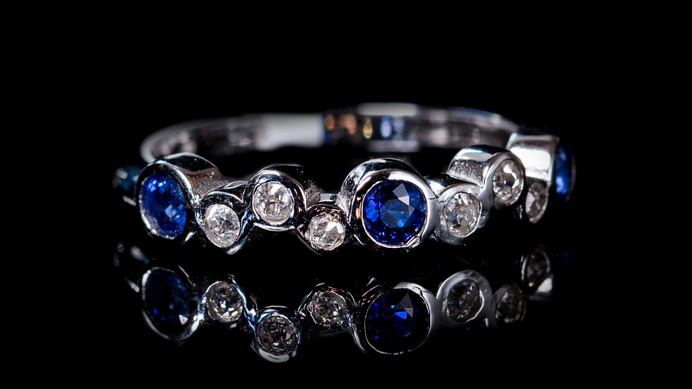 Bubbles Diamond and Blue Sapphire Half-Eternity Ring,