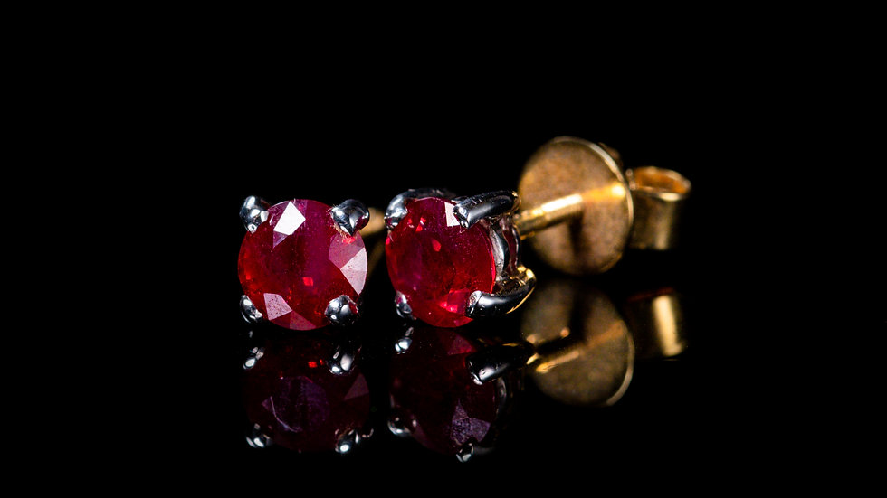 18ct Yellow Gold Ruby Studs 1.22ct