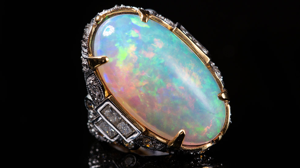 15ct Cabochon Opal with 2ct Diamonds 18ct Yellow Gold Ring