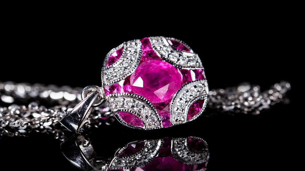 1.5ct Ruby and 0.25ct Diamond Pendant & Chain