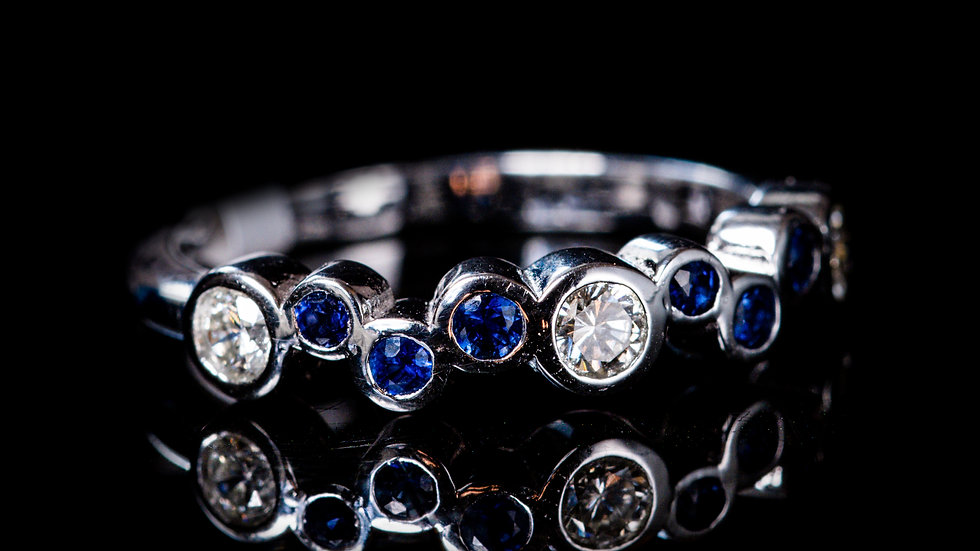 Bubbles Blue Sapphire and Diamond Half-Eternity Ring,