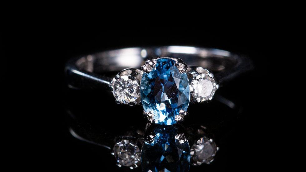 1ct Aquamarine and 0.2ct Diamond Ring 18ct White Gold