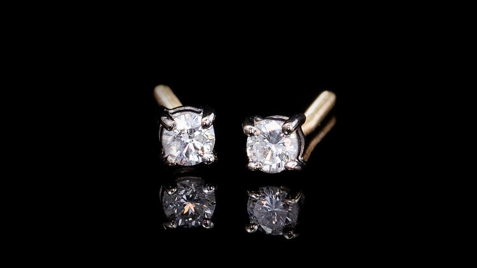 18ct Gold 4 Claw Brilliant Cut Diamond Studs Screw Post Earrings 0.16ct