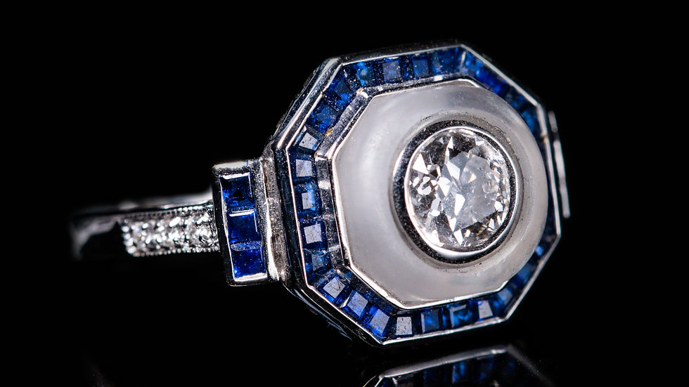 18ct White Gold Rock Crystal 0.6ct Diamond and 1.5ct Sapphire Ring