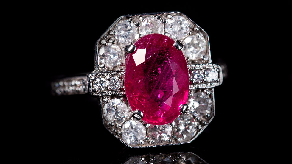 2.5ct Ruby and 0.75ct Diamond 18ct White Gold Ring