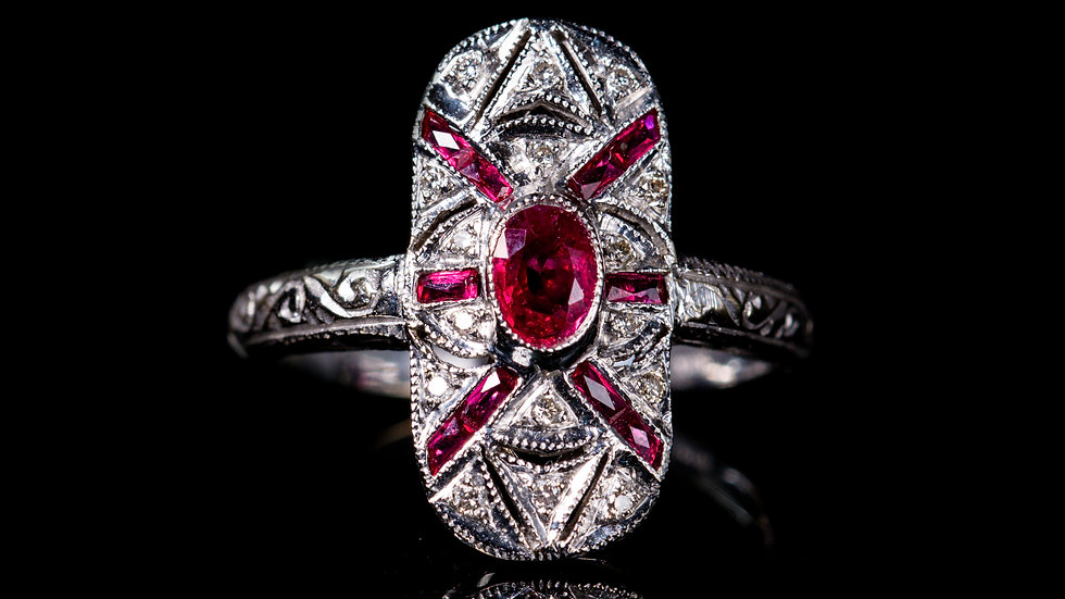 Ruby and Diamond Ring 18ct White Gold - Preowned