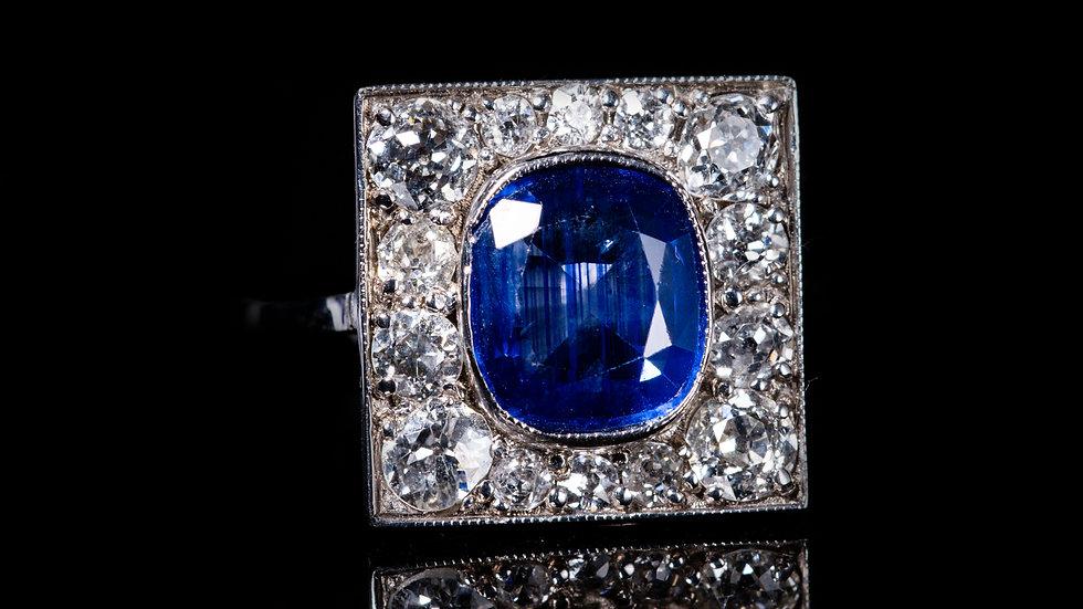 18ct White Gold 2ct Sapphire and 0.5ct Diamond Ring
