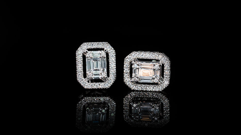 18ct White Gold 0.44ct Baguette & Round Diamond Earrings