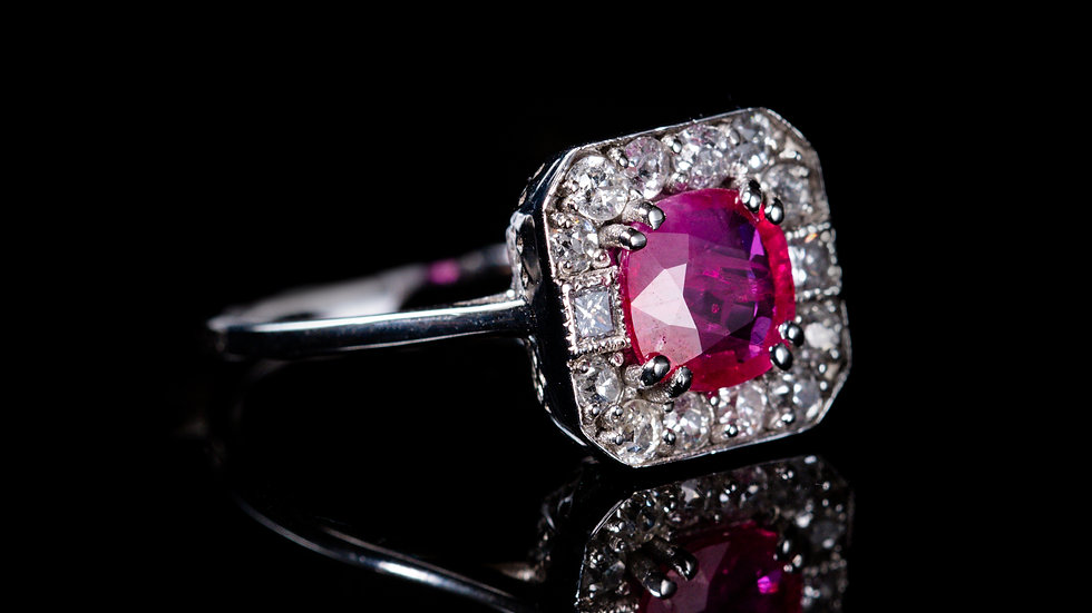 2ct Ruby and 0.5ct Diamond Ring 18ct White Gold