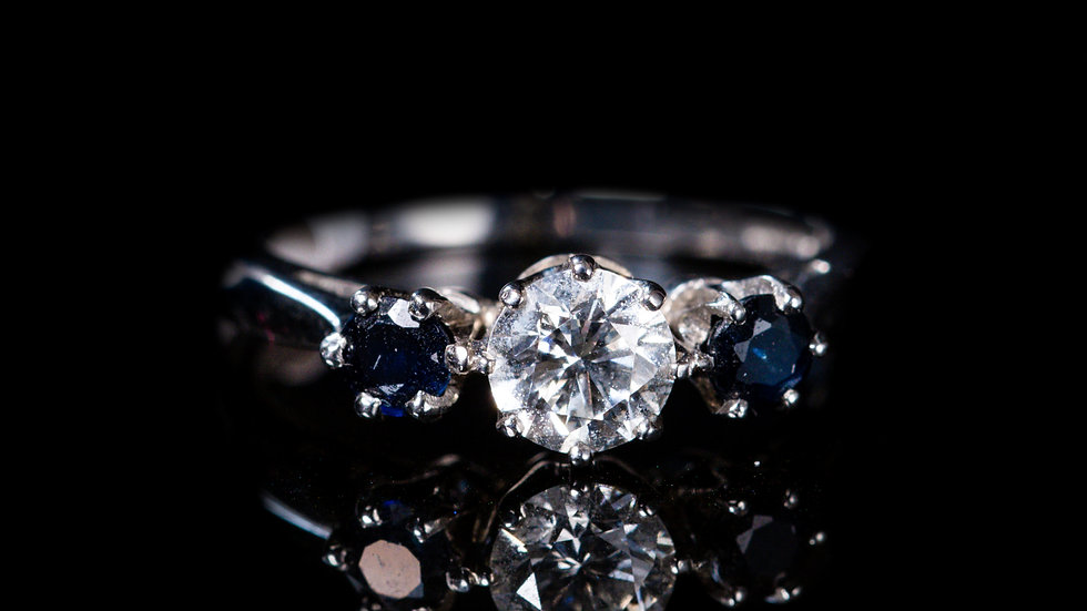 Platinum Engagement Ring with Round Blue Sapphire Side Stones
