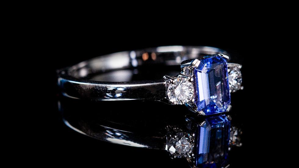 18ct White Gold Tanzanite and Diamond Ring