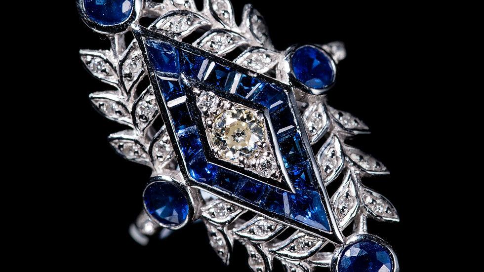 18ct Gold Diamond Pave Leaf design Sapphire Ring
