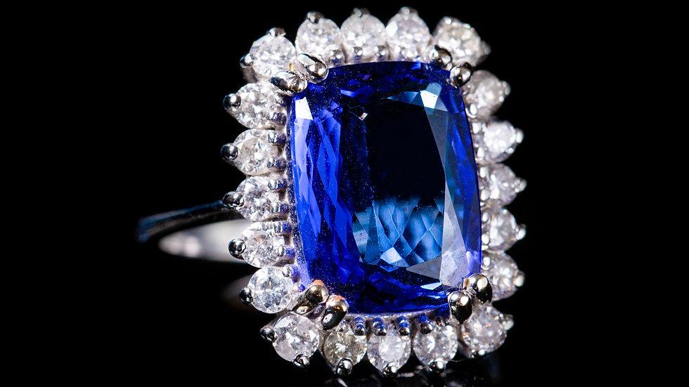 7ct Tanzanite and 1.2ct Diamond 18ct White Gold Ring