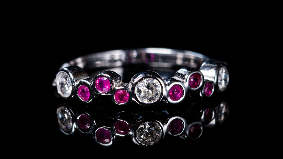 18ct White Gold White Gold Ruby and Diamond Bubble Ring