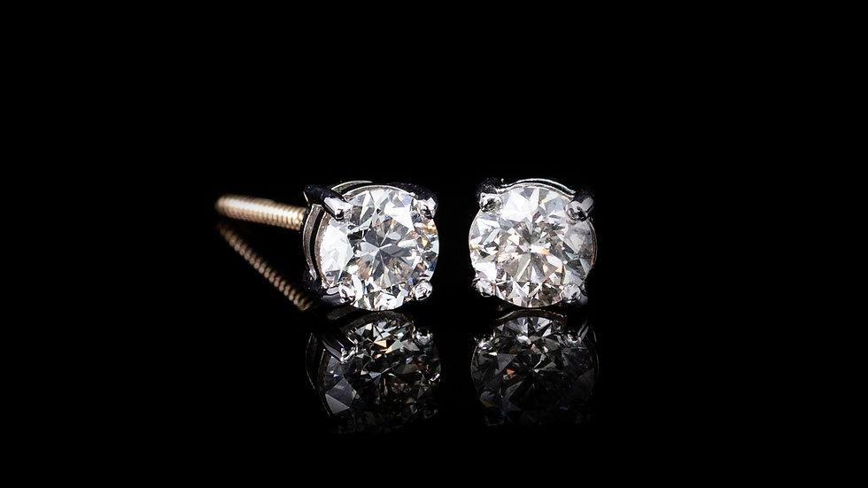 18ct Gold 4 Claw Brilliant Cut Diamond Studs Screw Post Earrings 1.01ct