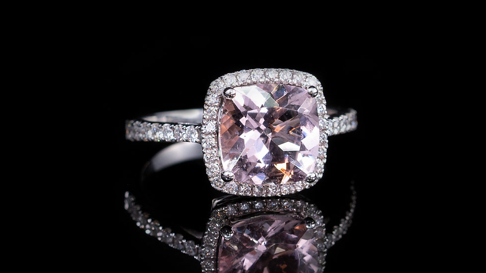 18ct white gold morganite & diamond cluster ring