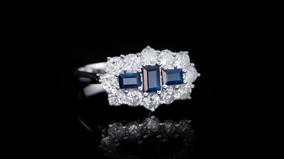 18ct White Gold Oblong Sapphire And Diamond Boat Cluster Ring
