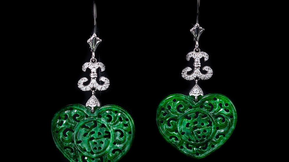0.4ct Diamond Jade Earrings 14ct Gold