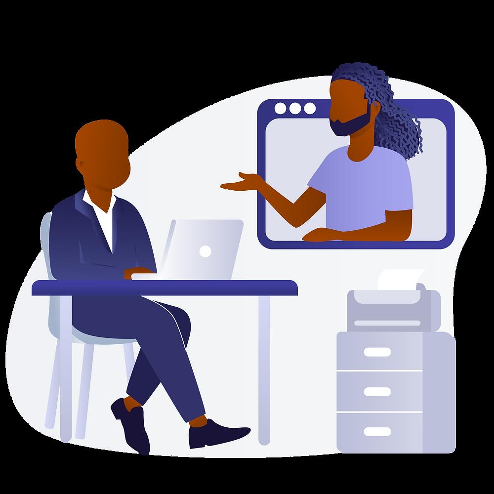 Black men video conference