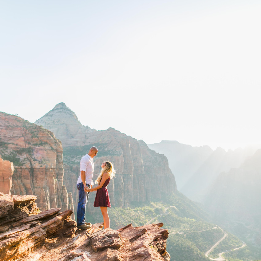 Sunset engagement in Zion