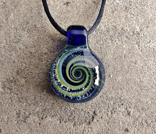 Glass Spiral Galaxy With Encased Ash (Blue & Green)