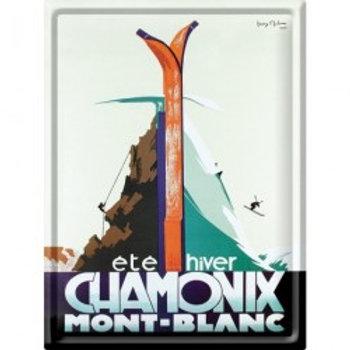 Plaque métal Chamonix été hiver 30x40cm