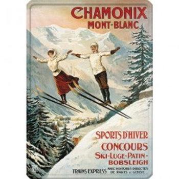 Plaque métal Chamonix les deux sauteurs 30x40cm