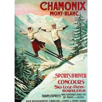 Affiche Chamonix les deux sauteurs 50x70cm