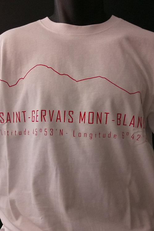 Tshirt St-Gervais blanc/rouge - SERICIMES