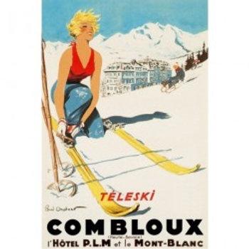 Affiche Combloux Téléski Hôtel 50x70cm