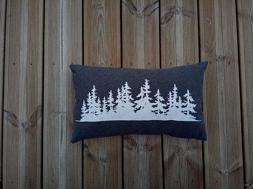 Coussin forêt gris 30x50cm - SERICIMES