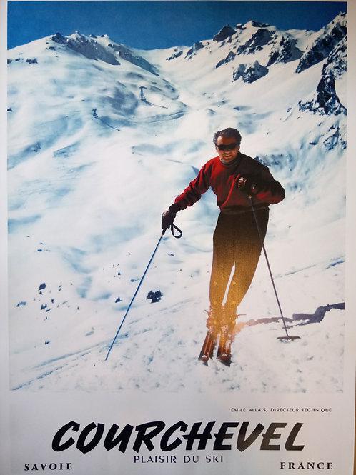 Affiche Courchevel plaisir du ski 50x70cm