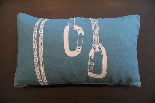 Coussin mousqueton blanc 30x50cm DavidEnAlpage