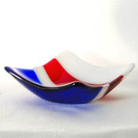 Red, White and Blue Square dish