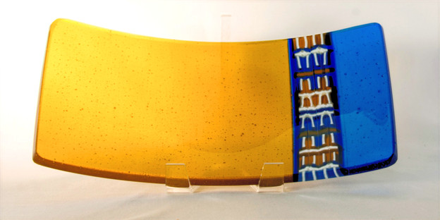 Color Bar Amber and Blue Curved Tray