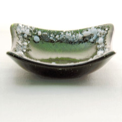 Green Adventure dish with White Crushed Glass