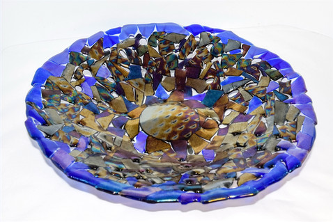 Lacy Blue Iridescent Bowl