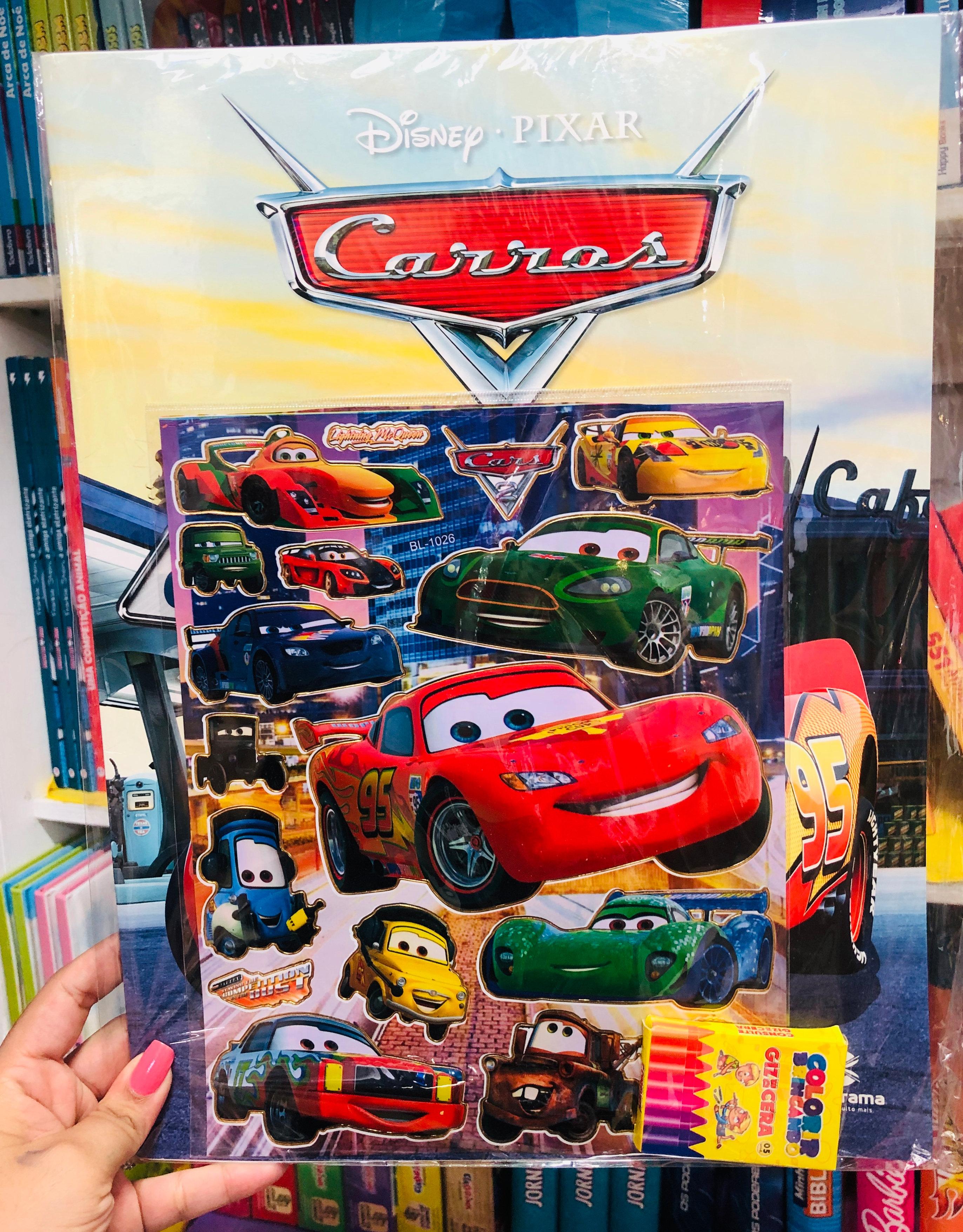 Kit Carros Livro De Colorir Adesivos Giz De Cera Livraria