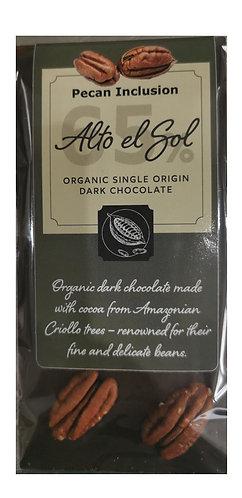 Organic Alto el Sol 65% Pecan Inclusion Chocolate Bar 100g