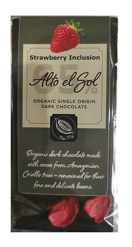 Organic Alto el Sol 65% Strawberry Inclusion Chocolate Bar 100g