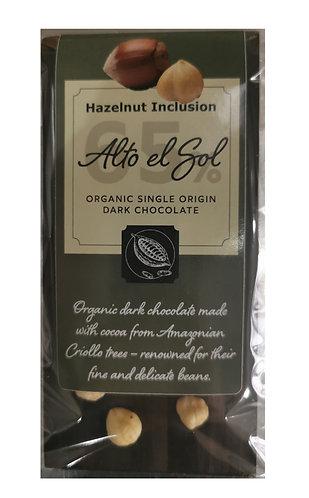 Organic Alto el Sol 65% Hazelnut Inclusion Chocolate Bar 100g
